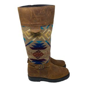 Paul Brodie x Pendleton Wool Aztec Leather Boots 8